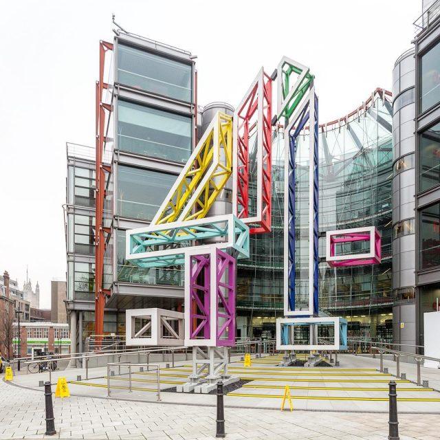 Big 4 sculpture in front of Channel 4 Building Sculpturehellip