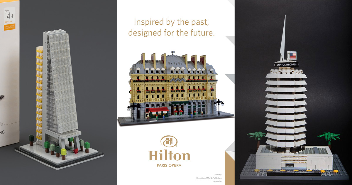 A few of the amazing unofficial LEGO Architecture sets which have been made. (Leadenhall Building by Bright Bricks, Hilton Paris Opera by Amazings, Capitol Records by Adam Ward.