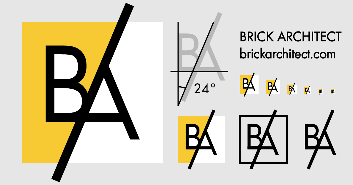 New Brick Architect logo at a variety of sizes and variations.