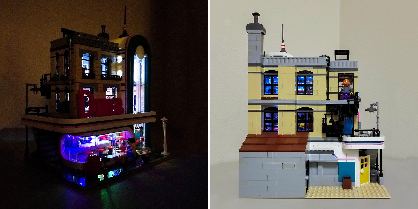 Downtown Diner with Lights (left), and back of Diner showing smokehouse built to cover the battery packs (right.)