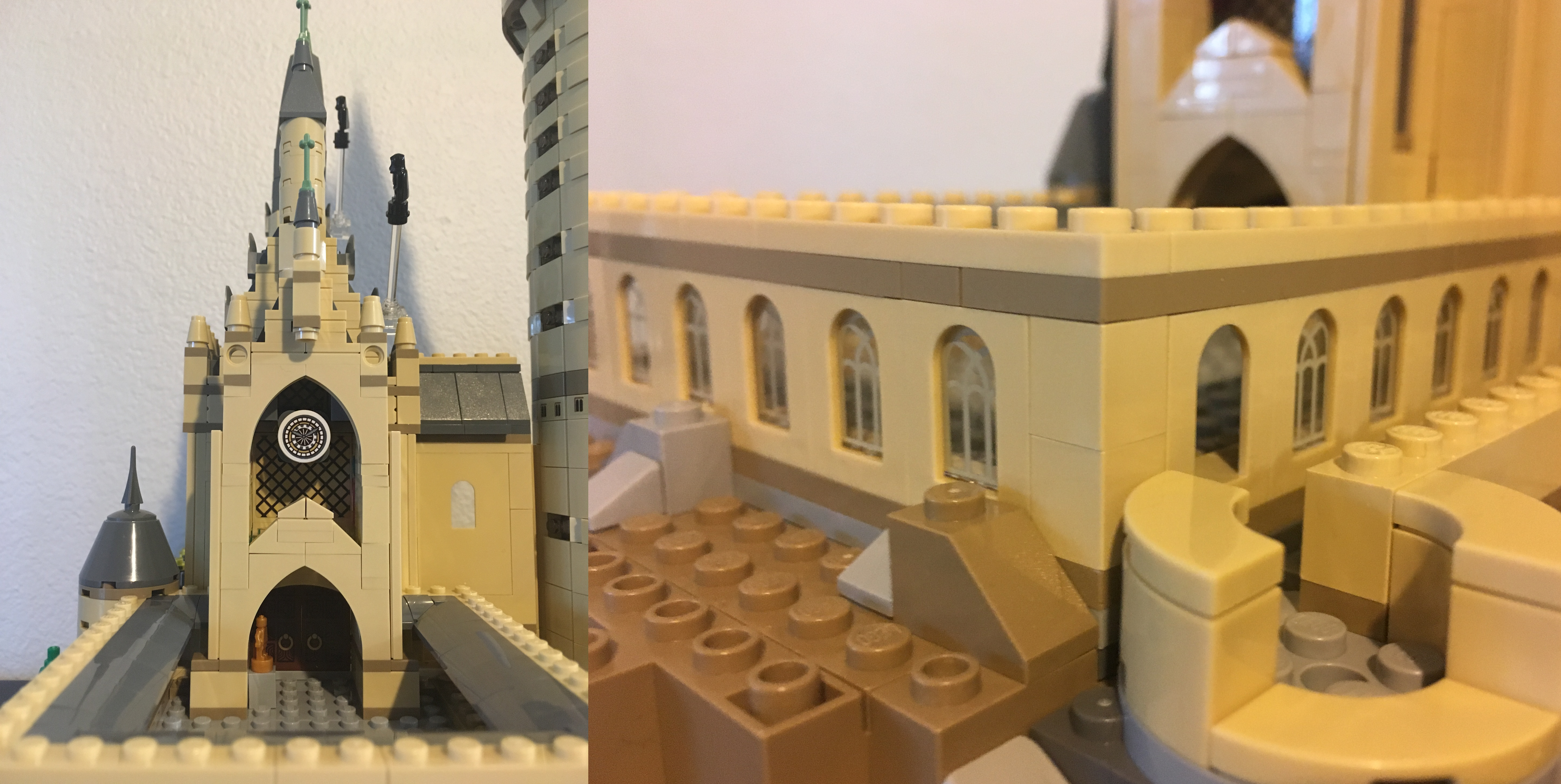 wall Harry Potter Castle  Lot of 2 Lego NEW tan 3 x 3 x 6 corner panel